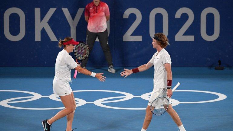 Анастасия Павлюченкова иАндрей Рублев. Фото AFP