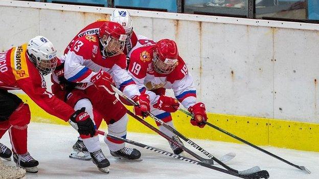 Сборная России забросила девять шайб вворота Швейцарии. Фото ФХР