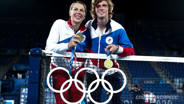 Анастасия Павлюченкова иАндрей Рублев взяли олимпийское золото вроссийском финале теннисного микста. Фото Дарья Исаева, «СЭ» / Canon EOS-1D X Mark II