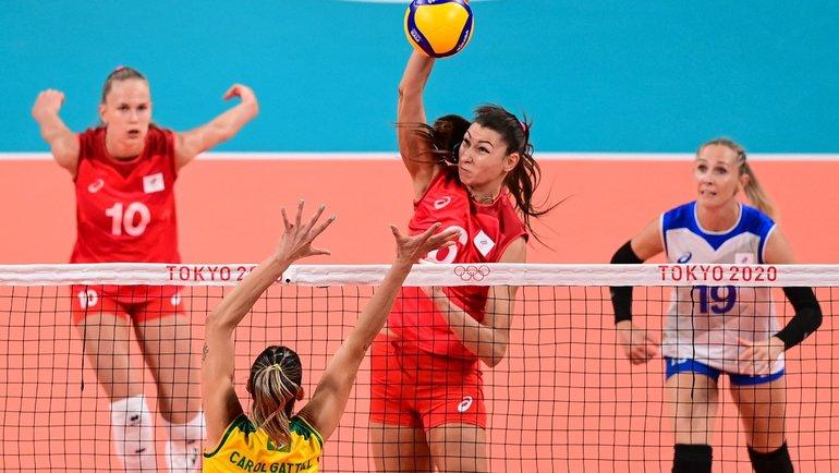 Женская сборная России уступила бразильянкам вовтором сете. Фото AFP