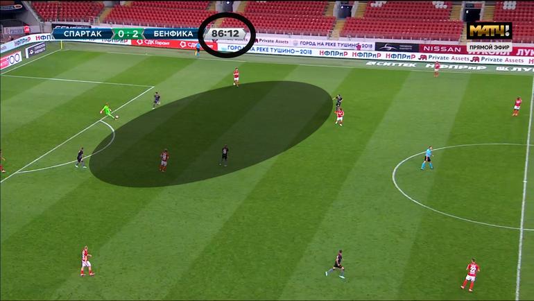 Эпизод матча 3-го отборочного раунда Лиги чемпионов «Спартак»— «Бенфика».