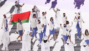 Спортсмены сборной Белоруссии нацеремонии открытия Олиомпийских игр-2020.