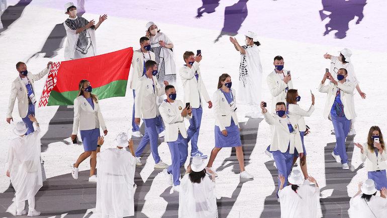 Спортсмены сборной Белоруссии нацеремонии открытия Олиомпийских игр-2020. Фото Getty Images
