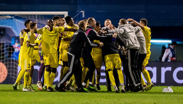 «Шериф» празднует выход вгрупповой этап Лиги чемпионов. Фото Getty Images