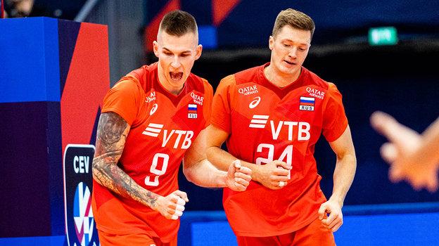 Российские волейболисты одерживают победу. Фото CEV