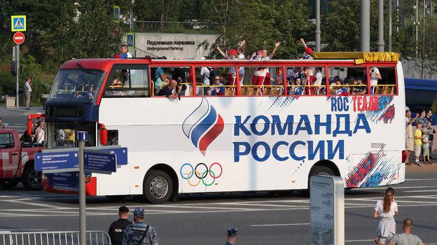 Автобус соспортсменами олимпийской сборной России. Фото Александр Федоров, «СЭ» / Canon EOS-1D X Mark II