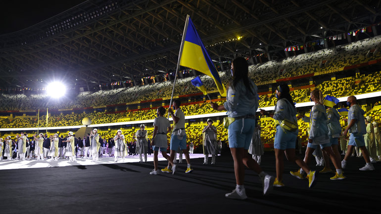 Флаг Украины наОлимпиаде вТокио. Фото Getty Images