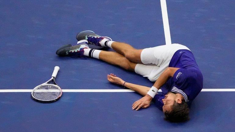 Даниил Медведев иего праздновение после победы наUS Open. Фото AFP
