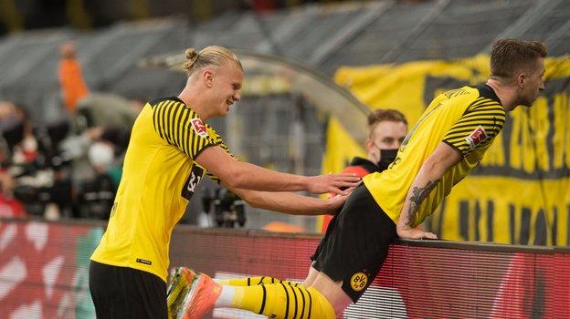 Эрлинг Холанн (слева) оформил дубль вматче «Боруссия»— «Унион»— 4:2. Фото BVB, Twitter
