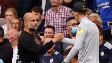 25сентября. Лондон. «Челси»— «Манчестер Сити»— 0:1. Хосеп Гвардиола иТомас Тухель. Фото Reuters