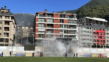 Пожар на стадионе в Андорре. Фото Sky Sports