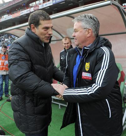 """Славен БИЛИЧ (слева) и Гус ХИДДИНК. Фото Татьяны ДОРОГУТИНОЙ, """"СЭ""""."""