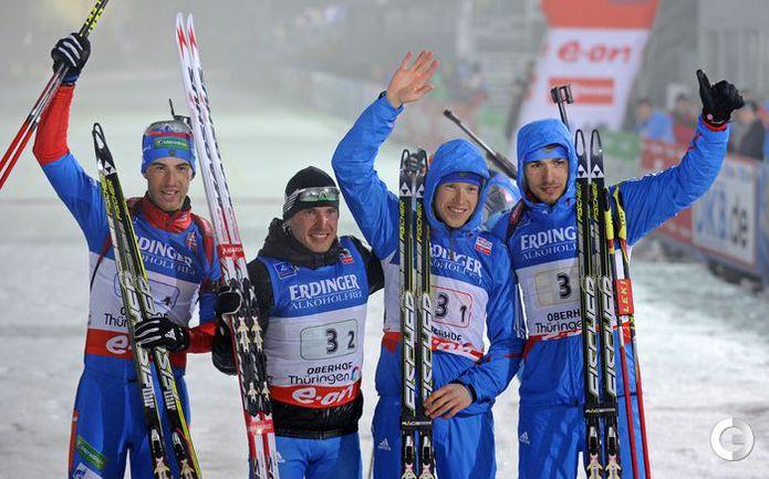 Мужская биатлонная сборная. Фото AFP.