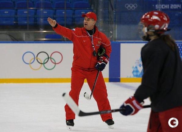 На тренировке хоккеисток сборной России в Сочи