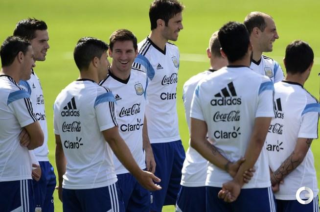 Лионель Месси на тренировке сборной Аргентины