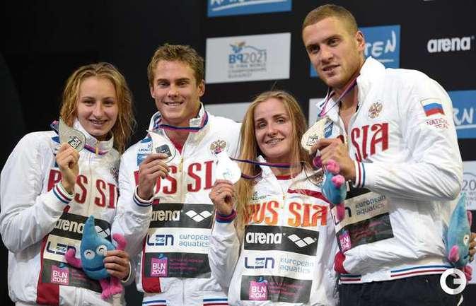 Россия - вторая в смешанной эстафете 4х100 м вольным стилем на ЧЕ