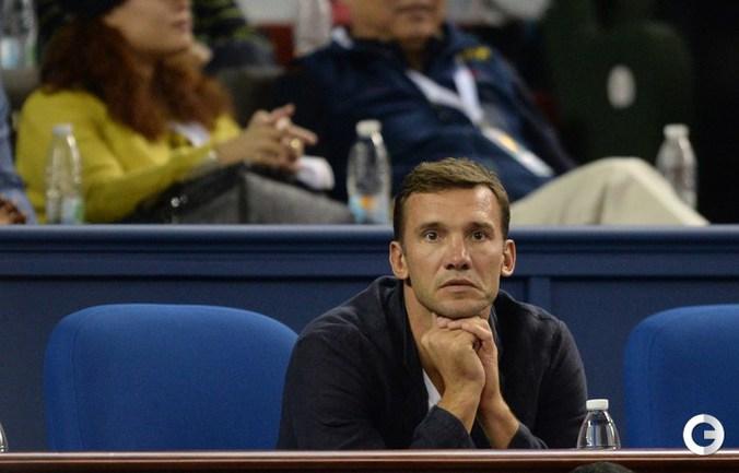Андрей Шевченко на победном матче Джоковича