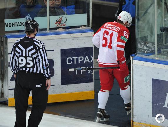Удаление Максима Афиногенова до конца матча на 9-ой минуте матча.