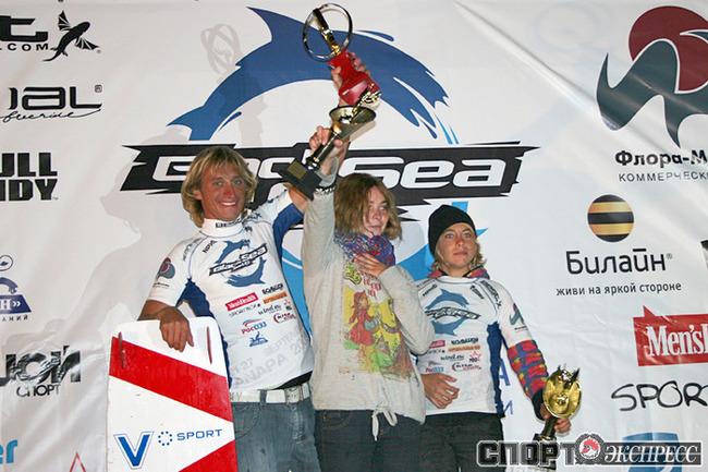 Чемпионы России 2009 по кайтбордингу: Евгений Новожеев (Москва), Светлана Турчина (Таганрог), Артем Гаращенко (Екатеринбург).