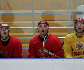 Три главные российские звезды НХЛ - Евгений МАЛКИН, Илья КОВАЛЬЧУК и Александр ОВЕЧКИН. Фото Александра ВИЛЬФА Фото «СЭ»