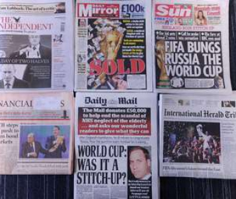 Передовицы крупнейших британских газет на следующий день после выборов стран - хозяек чемпионатов мира 2018 и 2022 года. Фото AFP