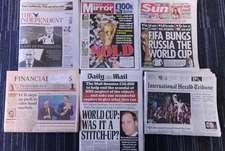 Передовицы крупнейших британских газет на следующий день после выборов стран - хозяек чемпионатов мира 2018 и 2022 года.