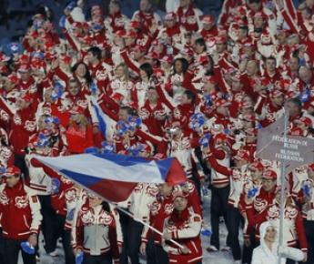 """Олимпийская семья России на открытии Игр в Ванкувере. Фото Александра ВИЛЬФА Фото """"СЭ"""""""