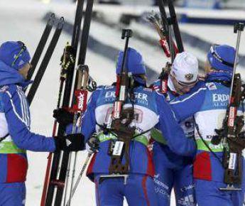 Сегодня. Ханты-Мансийск. Российская эстафетная четверка после финиша. Фото REUTERS