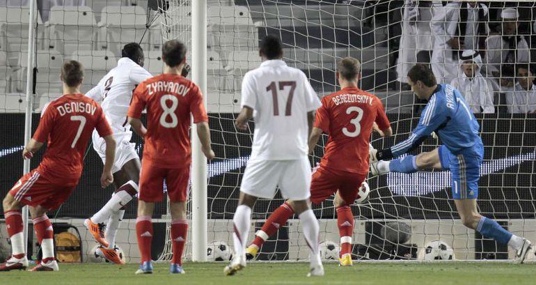 Вчера. Доха. Катар - Россия - 1:1. Хозяева открывают счет в матче. Фото REUTERS