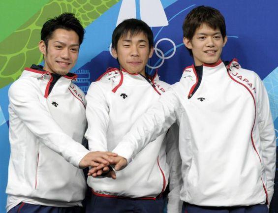 Дайсуке ТАКАХАСИ (слева), Нобунари ОДА (в центре) и Такахико КОЗУКА. Фото AFP