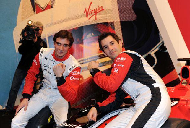 Пилоты Marussia Virgin Racing - Жером Д'АМБРОЗИО и Тимо ГЛОК (справа). Фото AFP
