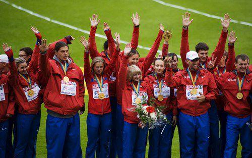 Воскресенье. Стокгольм. Радость российских атлетов - победителей командного чемпионата Европы. Фото AFP