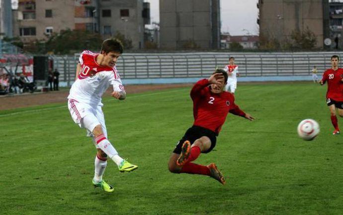 Вчера. Дюррес. Албания - Россия - 0:1. В атаке Федор СМОЛОВ. Фото РФС. Фото «СЭ»