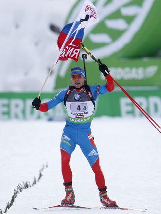 Вчера. Хохфильцен. Победный финиш Антона ШИПУЛИНА. Фото REUTERS
