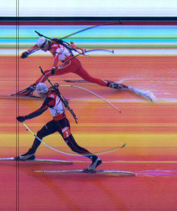 11 марта 2007 года. Холменколлен. Рафаэль ПУАРЕ (внизу) и Оле Эйнар БЬОРНДАЛЕН на кадре фотофиниша их последней гонки. Фото AFP
