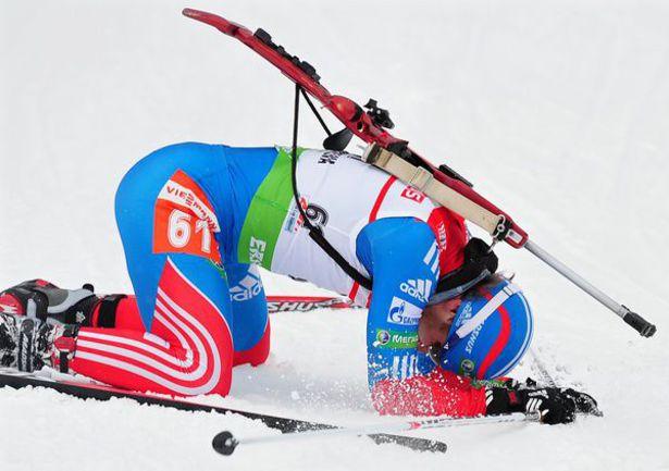 Вчера. Антерсельва. Евгений ГАРАНИЧЕВ отдал гонке все силы. Фото AFP