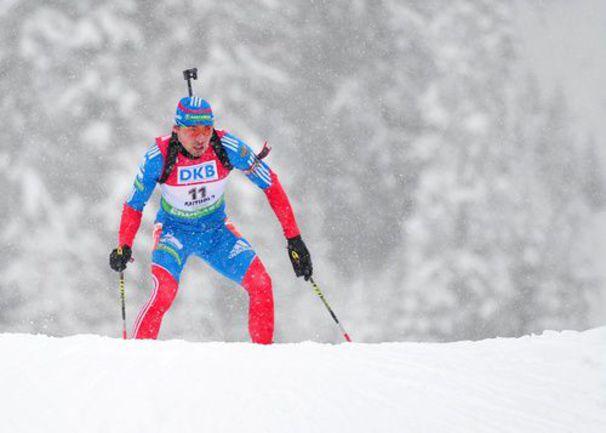 Суббота. Антерсельва. Антон ШИПУЛИН на дистанции масс-старта. Напряженный финиш еще впереди... Фото AFP
