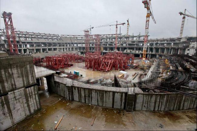 """Сегодня. Санкт-Петербург. Строительство стадиона на Крестовском острове. Фото BaltInfo. Фото """"СЭ"""""""