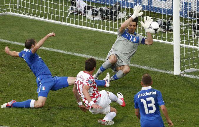 """Четверг. Познань. Италия - Хорватия - 1:1. 72-я минута. Нападающий хорватов Марио МАНДЖУКИЧ пробивает вратаря """"Скуадры адзурры"""" Джанлуиджи БУФФОНА и сравнивает счет. Фото REUTERS"""