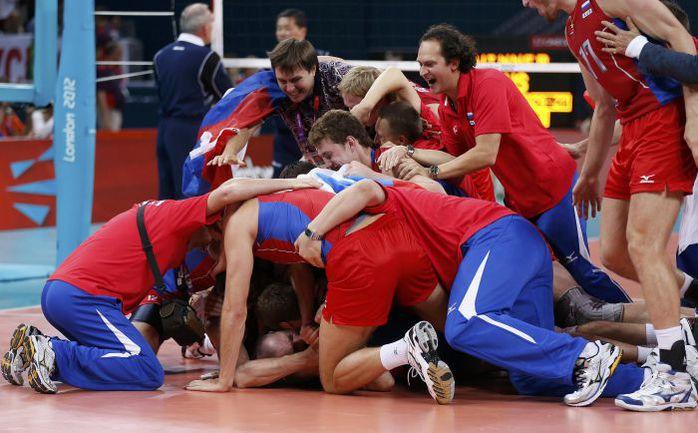 Воскресенье. Лондон. Россия - Бразилия - 3:2. Российские волейболисты - олимпийские чемпионы! Фото AFP