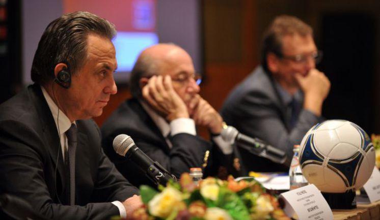 Вчера. Москва. Пресс-конференция с участием Виталия МУТКО, Йозефа БЛАТТЕРА и Жерома ВАЛЬКЕ (слева направо). Фото AFP