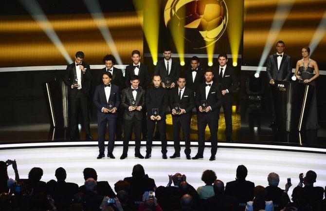 Понедельник. Цюрих. Игроки, вошедшие в символическую сборную года. Фото AFP