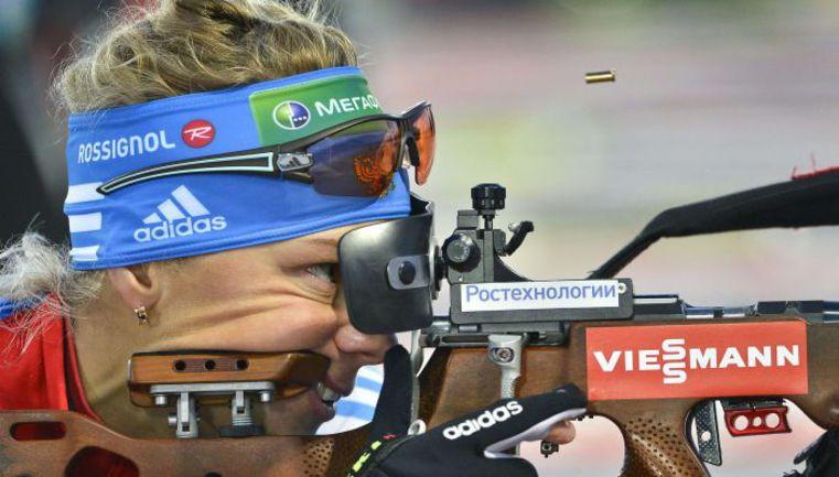 Лучшая из россиянок Ольга ЗАЙЦЕВА финишировала в рупольдингском спринте лишь 17-й. Фото AFP