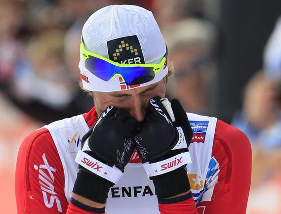 Вчера. Валь-ди-Фьемме. Петтер НОРТУГ, выигравший свое первое золото на ЧМ-2013, плакал на финише…. Фото REUTERS