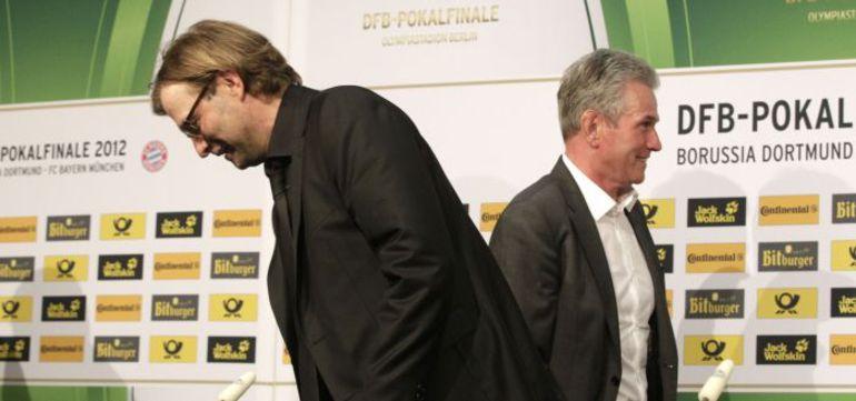 Командам Юргена КЛОППА (слева) и Юппа ХАЙНКЕСА в нынешнем сезоне предстоит сыграть еще дважды: в чемпионате Германии и финале Лиги чемпионов. Фото Reuters