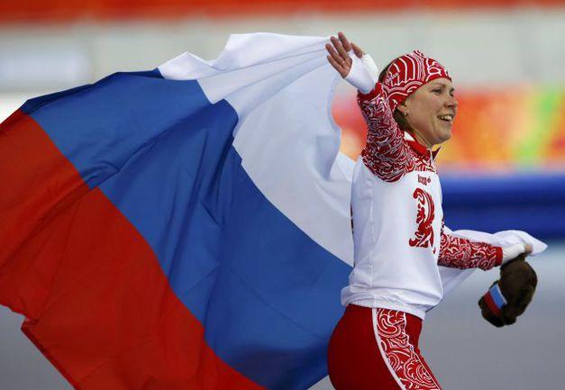 Сегодня. Сочи. Ольга ГРАФ принесла России первую медаль Олимпиады-2014. Фото AFP