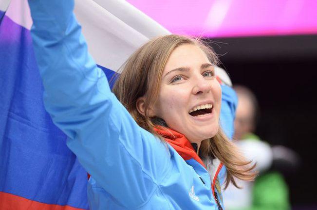 Бронзовый призер Олимпиады в Сочи в скелетоне Елена НИКИТИНА. Фото AFP