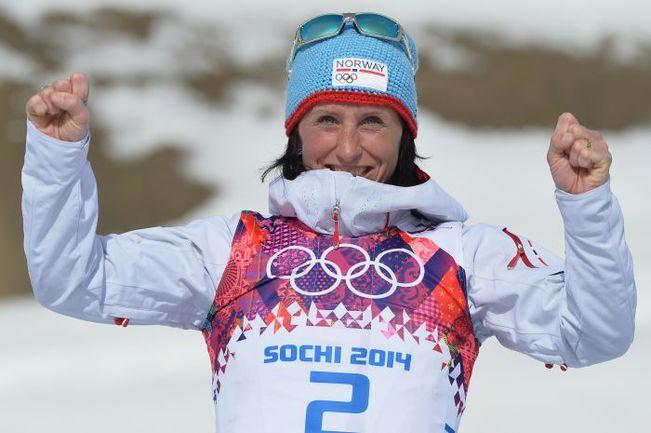 Сегодня. Сочи. Марит БЬОРГЕН стала шестикратной олимпийской чемпионкой. Фото AFP