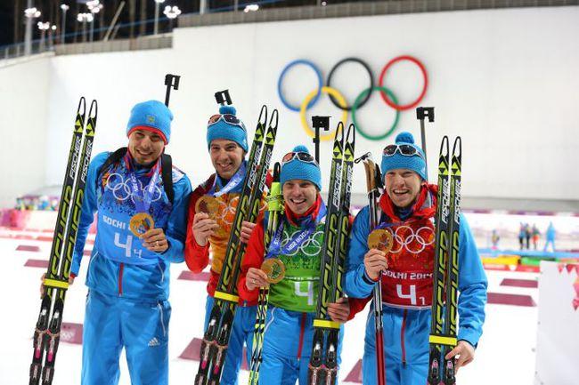 Вчера. Сочи. Мужская сборная России с золотыми медалями Олимпиады. Фото ТАСС