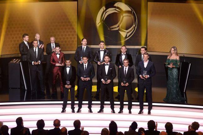 Игроки команды 2013 года по версии ФИФПро Лионель МЕССИ, Даниэл АЛВЕС, ТИАГУ СИЛВА, Филипп ЛАМ и Мануэль НОЙЕР выделялись и в феврале 2014-го. Фото AFP